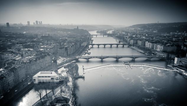 Drone shot of the Vltava river with its multiple bridges
