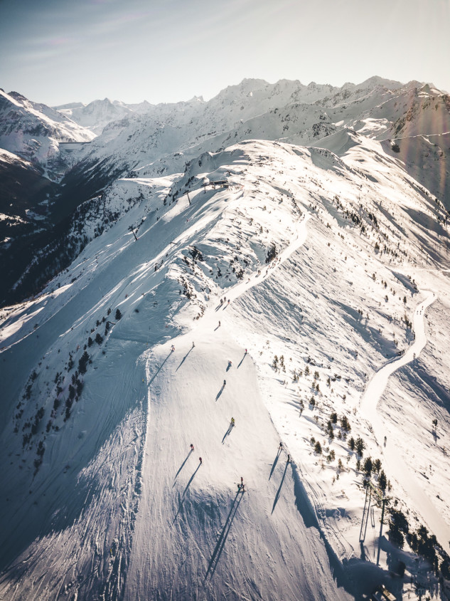 Drone shot of the top ski slopes of Thyon 2000